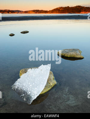 Large chunk of ice on a rock in a lake at sunrise - Stock Photo