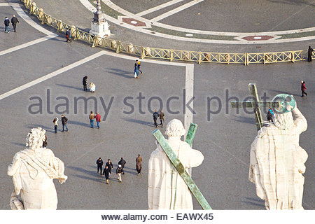 An aerial view of statues on Saint Peter's Basilica and of  Saint Peter's Square. - Stock Photo