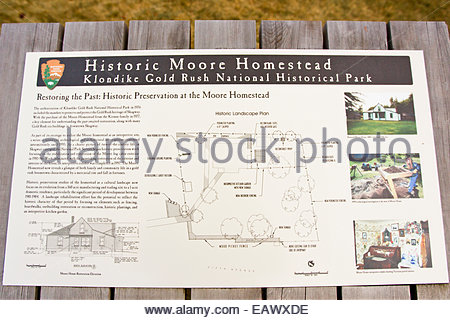 A sign and map of the historic Moore Homestead in Klondike Gold Rush National Park. - Stock Photo