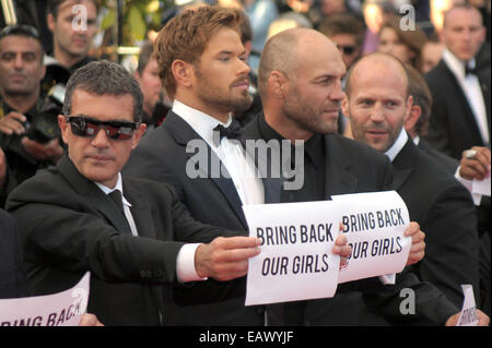 The 67th Annual Cannes Film Festival - 'The Expendables 3' premiere - Arrivals - Stars with Bring Back Our Girls - Stock Photo