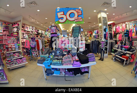 82c903712 Fisheye lens view of a girl's clothing store called Justice at Roosevelt  Field mall with a