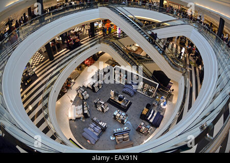 A fisheye lens interior view of 3 floors of Bloomingdales at Roosevelt Field Mall in Garden City, Long Island, New - Stock Photo