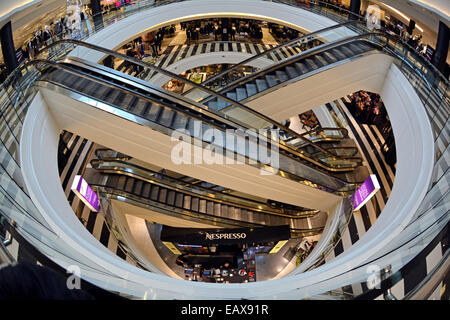 A fisheye lens interior view of 3 floors of Bloomingdale's at Roosevelt Field Mall in Garden City, Long Island, - Stock Photo