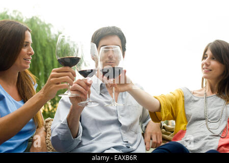 Friends clinking wine glasses - Stock Photo