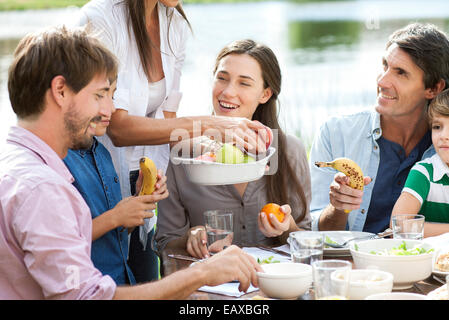 Family enjoying healthy picnic - Stock Photo