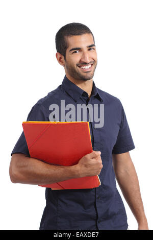 Adult casual arab man student posing standing holding folders isolated on a white background - Stock Photo