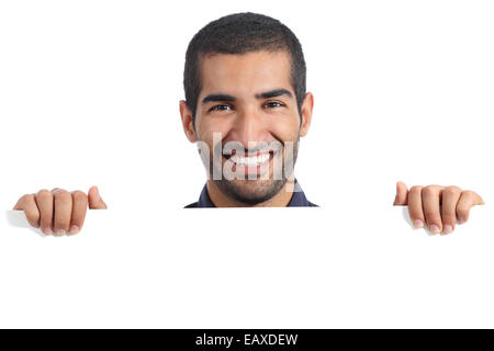 Arab happy man holding a blank banner isolated on a white background - Stock Photo