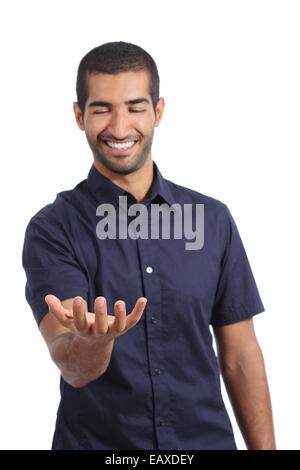 Arab happy man holding something blank in his hand isolated on a white background - Stock Photo