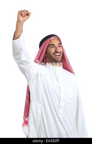 Arab saudi man euphoric raising arm isolated on a white background - Stock Photo