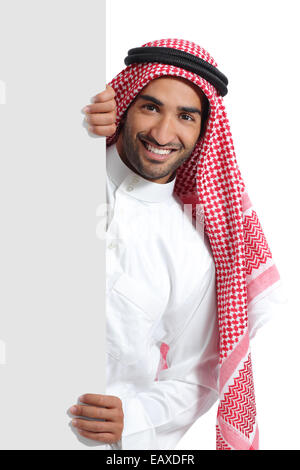 Arab saudi promoter man holding a blank sign isolated on a white background - Stock Photo