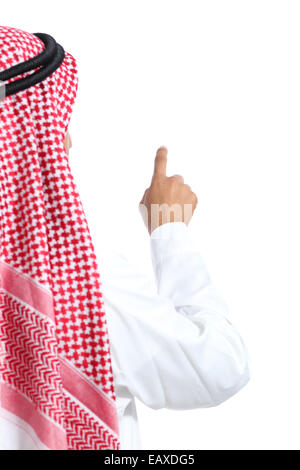 Back view of an arab saudi emirates man selecting in the air isolated on a white background - Stock Photo