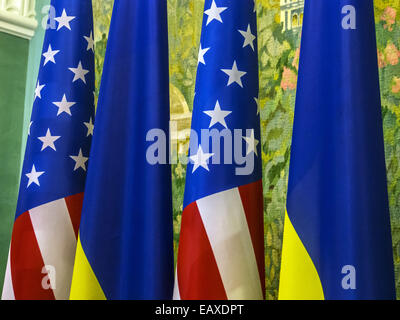 Nov. 21, 2014 - US and Ukranian flags -- US Vice President Joe Biden announced in Kiev to increase military aid - Stock Photo