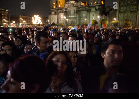 Tens of thousand of protesters gather on Zocalo, the city's main square, during a massive march in support of the - Stock Photo