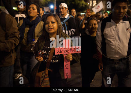Tens of thousand of protesters during a massive march in support of the 43 missing Ayotzinapa's students - Stock Photo