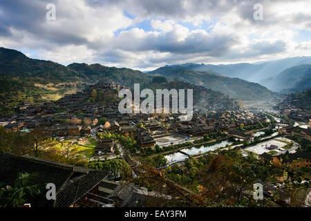 Traditional village, XiJiang, Guizhou province, China - Stock Photo