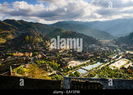 Traditional village, XiJiang, Guizhou province, China - Stock Photo