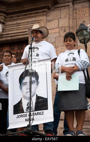 Parents and relatives of the 43 missing students from Ayotzinapa's teacher training college, during a demonstration - Stock Photo