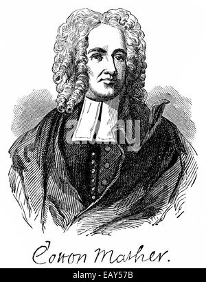 portrait of Cotton Mather, 1663 - 1728, a theologian, writer, Puritan preacher and church leaders of the New England - Stock Photo
