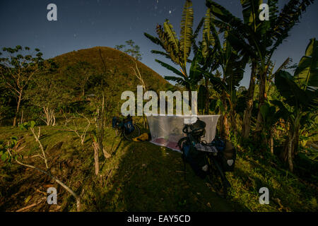 Camping at Chocolate hills, Bohol island, Philippines - Stock Photo
