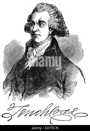 Tench Coxe, 1755 - 1824, an American economist and a delegate for Pennsylvania, Portrait von Tench Coxe, 1755 - - Stock Photo