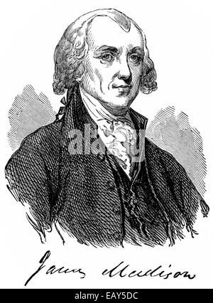 portrait of James Madison, 1751 - 1836, fourth President of the United States of America between 1809 and 1817, - Stock Photo