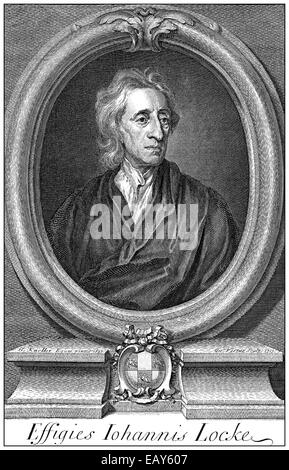 portrait of John Locke, 1632 - 1704, an English philosopher and thought leader of the Enlightenment, Portrait von - Stock Photo