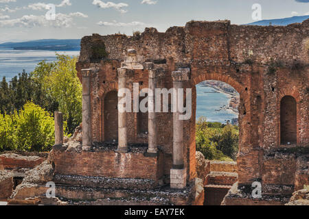 The ancient theater of Taormina is also known as Teatro Greco (Greek theater), Province Messina, Sicily, Italy, - Stock Photo