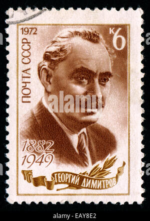USSR - CIRCA 1972: Postage stamp printed in USSR, devoted to 90th Birth Anniversary of Georgi Dimitrov Mikhaylov, - Stock Photo