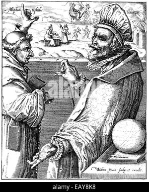 the Faustian pact between Mephistopheles or Mephisto and Heinrich Faust, 16th century, der Teufelspakt zwischen - Stock Photo