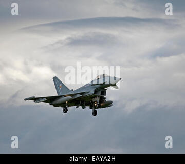 Eurofighter Typhoon FRG4 on approach to its Home Base at RAF Lossiemouth, Morayshire.  SCO 9174. - Stock Photo