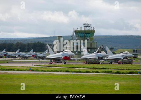 RAF No 1 & 6 Squadron Eurofighter Typhoons FRG4s Home Base Lossiemouth, Moray Scotland.  SCO 9175 - Stock Photo