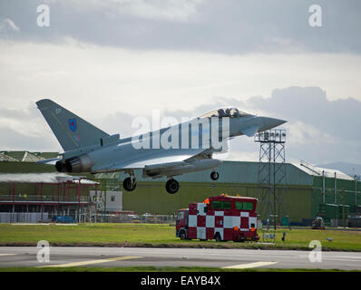 Eurofighter Typhoon FRG4 Military Fast Jet Fighter about to land at RAF Lossiemouth.  SCO 9169 - Stock Photo