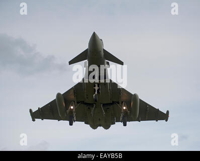 Eurofighter Typhoon FRG4 Military Fast Jet Fighter on approach to RAF Lossiemouth.  SCO 9170 - Stock Photo