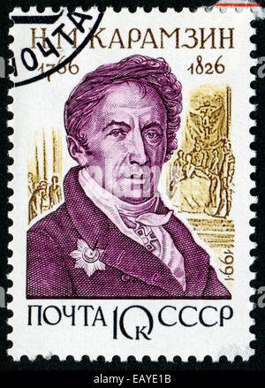 USSR - CIRCA 1991: A stamp printed in USSR shows Nikolay Mikhailovich Karamzin (1766-1826), series Russian Historians, - Stock Photo