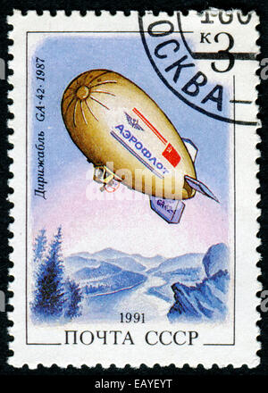 USSR - CIRCA 1991: A set of postage stamps printed in USSR shows airships, series, circa 1991 - Stock Photo