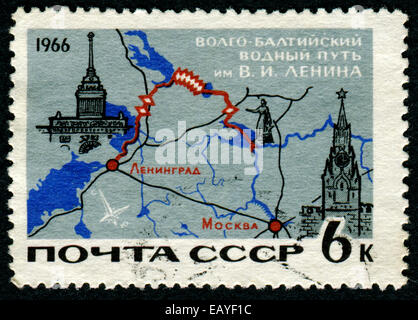 USSR - CIRCA 1966: A stamp printed in USSR from the 'Soviet Transport ' issue shows Map of Lenin Volga-Baltic canal - Stock Photo