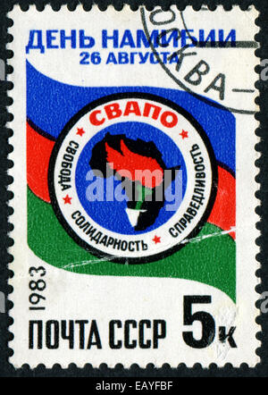 RUSSIA - CIRCA 1983: A stamp printed in USSR, shows Africa, devoted to Day of Namibia, circa 1983 - Stock Photo