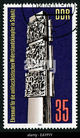 GERMANY- CIRCA 1981: stamp printed in Germany, shows Anti-Fascist Resistance Monument, Sassnitz, circa 1981.