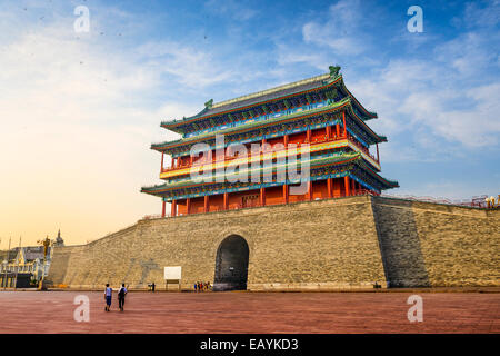 Beijing, China at the Zhengyangmen Gatehouse in Tiananmen Square. - Stock Photo