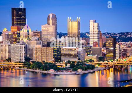 Pittsburgh, Pennsylvania, USA downtown skyline. - Stock Photo
