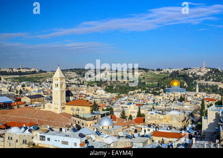 Jerusalem, Israel Old City cityscape at the Temple Mount and Dome of the Rock. - Stock Photo