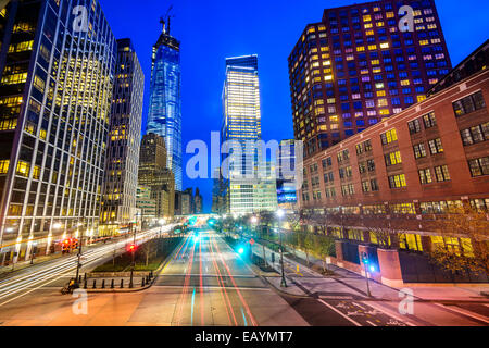 New York City cityscape in Lower Manhattan. - Stock Photo
