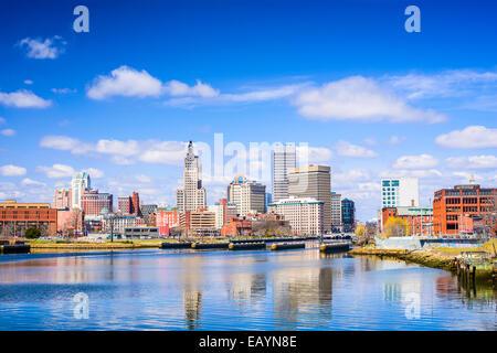 Providence, Rhode Island city skyline on the river. - Stock Photo