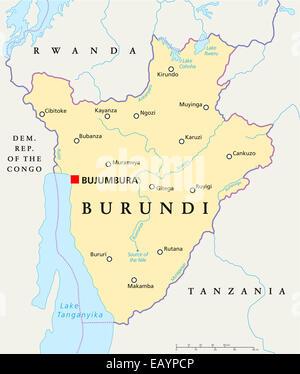 Burundi Political Map with capital Bujumbura, national borders, important cities, rivers and lakes. English labeling - Stock Photo