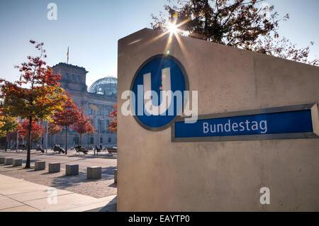 Bundestag underground sign in Berlin, Germany - Stock Photo