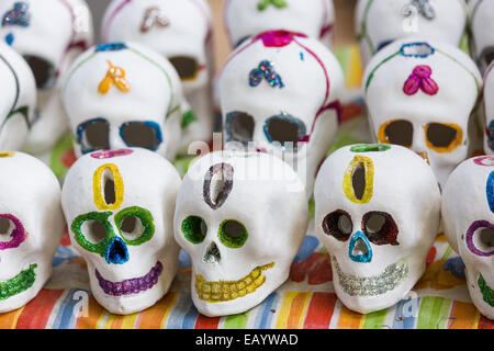 Decorative skulls used to celebrate Day of the Dead Festival known in spanish as D'a de Muertos on October 26, 2013 - Stock Photo