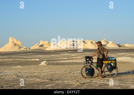 Cycling in the Sahara White desert, Egypt