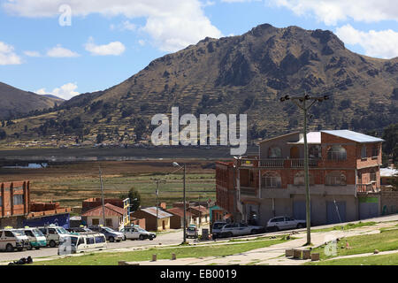Street in the small border town of Kasani on the shore of Lake Titicaca in Bolivia - Stock Photo