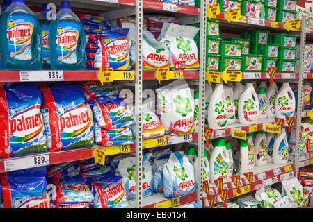 Ariel palmex washing powders in shelves supermarket, Prague Czech Republic Europe
