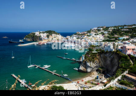 Aerial View of the Main Port of Ponza, Italy - Stock Photo
